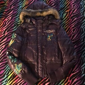 Ed Hardy Embroidered Puffer Jacket ⛄️